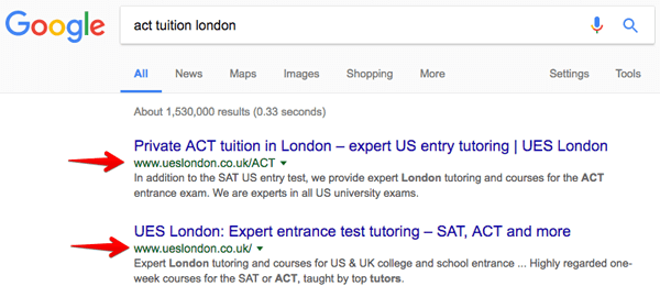 SEO case study for UES London