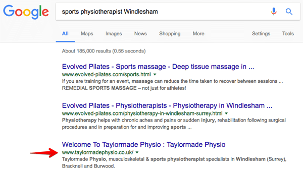 SEO case study for Taylor Made Physio